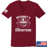 Men of Arms Apparel Ladies School of GUNWT V-Neck T-Shirts, V-Neck SMALL / Cranberry by Ballistic Ink - Made in America USA