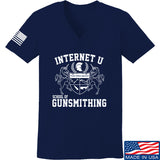 Men of Arms Apparel Ladies School of GUNWT V-Neck T-Shirts, V-Neck SMALL / Navy by Ballistic Ink - Made in America USA