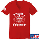 Men of Arms Apparel Ladies School of GUNWT V-Neck T-Shirts, V-Neck SMALL / Red by Ballistic Ink - Made in America USA