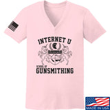 Men of Arms Apparel Ladies School of GUNWT V-Neck T-Shirts, V-Neck SMALL / Light Pink by Ballistic Ink - Made in America USA