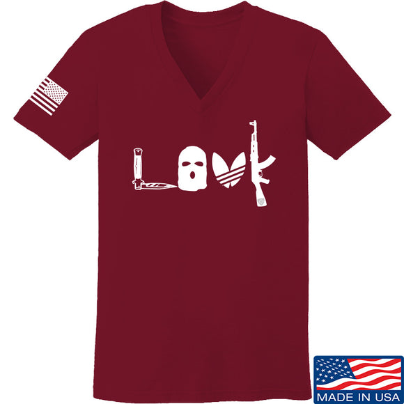 Men of Arms Apparel Ladies Slav Love AK V-Neck T-Shirts, V-Neck SMALL / Cranberry by Ballistic Ink - Made in America USA