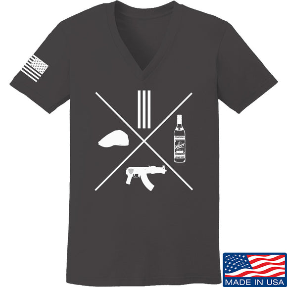 Men of Arms Apparel Ladies Slav Starter Kit V-Neck T-Shirts, V-Neck SMALL / Charcoal by Ballistic Ink - Made in America USA