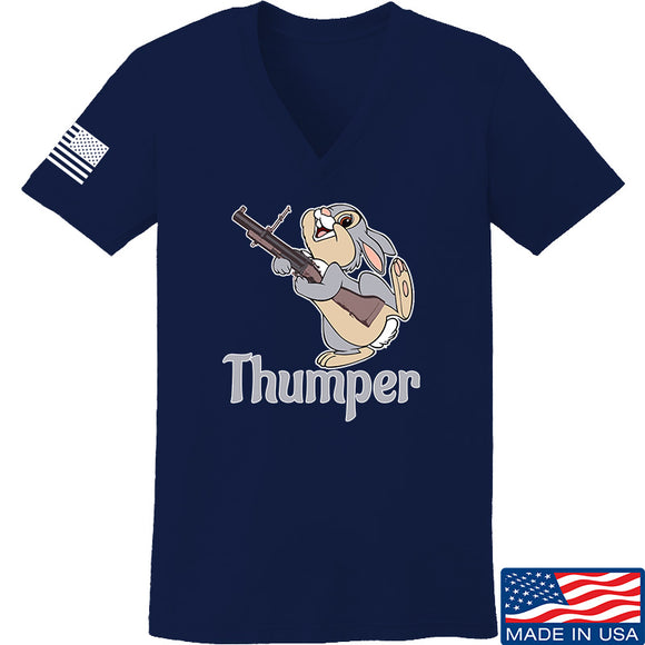 Men of Arms Apparel Ladies Thumper M79 V-Neck T-Shirts, V-Neck SMALL / Navy by Ballistic Ink - Made in America USA