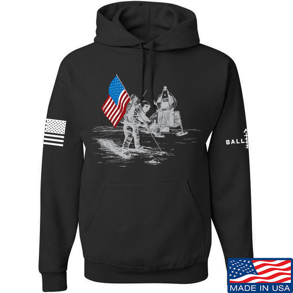 Skinny Medic First Man on The Moon Hoodie Hoodies Small / Black by Ballistic Ink - Made in America USA