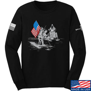 9mmsmg First Man on The Moon Long Sleeve T-Shirt Long Sleeve Small / Navy by Ballistic Ink - Made in America USA