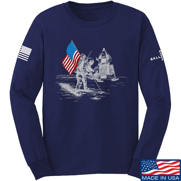 22plinkster First Man on The Moon Long Sleeve T-Shirt Long Sleeve Small / Navy by Ballistic Ink - Made in America USA