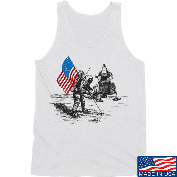 9mmsmg First Man on The Moon Tank Tanks SMALL / White by Ballistic Ink - Made in America USA