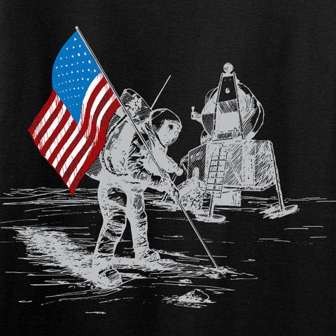 22plinkster First Man on The Moon Long Sleeve T-Shirt Long Sleeve [variant_title] by Ballistic Ink - Made in America USA