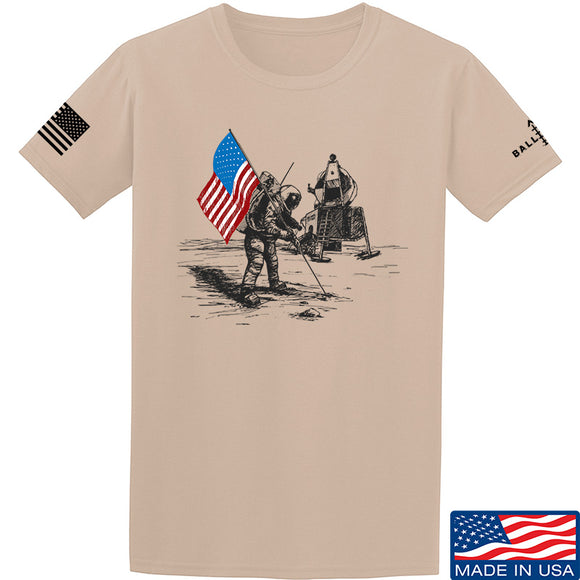22plinkster First Man on The Moon T-Shirt T-Shirts Small / Sand by Ballistic Ink - Made in America USA