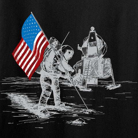 Skinny Medic Ladies First Man on The Moon V-Neck T-Shirts, V-Neck [variant_title] by Ballistic Ink - Made in America USA