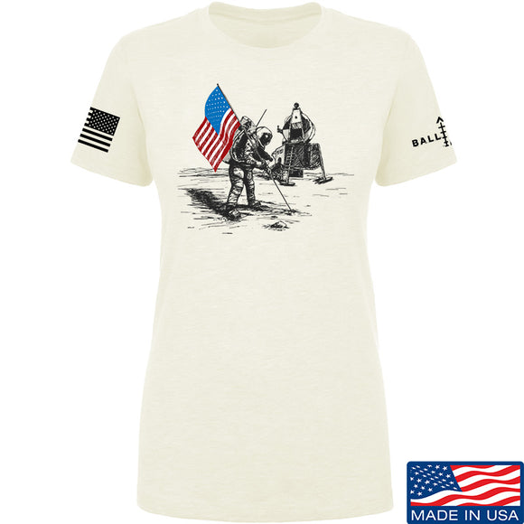 9mmsmg Ladies First Man on The Moon T-Shirt T-Shirts SMALL / Cream by Ballistic Ink - Made in America USA