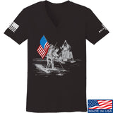 9mmsmg Ladies First Man on The Moon V-Neck T-Shirts, V-Neck SMALL / Black by Ballistic Ink - Made in America USA