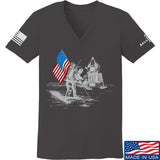 9mmsmg Ladies First Man on The Moon V-Neck T-Shirts, V-Neck SMALL / Charcoal by Ballistic Ink - Made in America USA