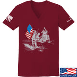 9mmsmg Ladies First Man on The Moon V-Neck T-Shirts, V-Neck SMALL / Cranberry by Ballistic Ink - Made in America USA