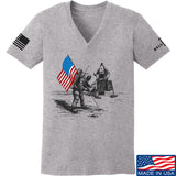 9mmsmg Ladies First Man on The Moon V-Neck T-Shirts, V-Neck SMALL / Light Grey by Ballistic Ink - Made in America USA