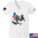 9mmsmg Ladies First Man on The Moon V-Neck T-Shirts, V-Neck SMALL / White by Ballistic Ink - Made in America USA