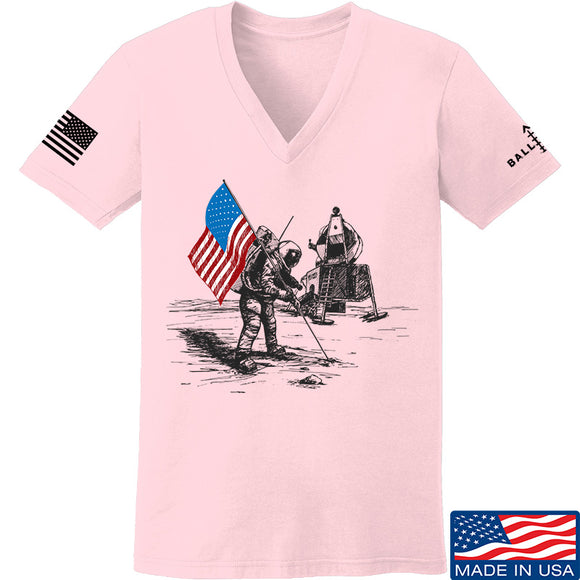 Skinny Medic Ladies First Man on The Moon V-Neck T-Shirts, V-Neck SMALL / Light Pink by Ballistic Ink - Made in America USA