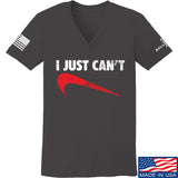 Mrgunsngear Ladies I Just Can't V-Neck T-Shirts, V-Neck SMALL / Charcoal by Ballistic Ink - Made in America USA