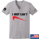 Mrgunsngear Ladies I Just Can't V-Neck T-Shirts, V-Neck SMALL / Light Grey by Ballistic Ink - Made in America USA