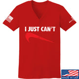 Mrgunsngear Ladies I Just Can't V-Neck T-Shirts, V-Neck SMALL / Red by Ballistic Ink - Made in America USA