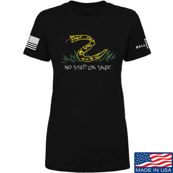 Mrgunsngear Ladies No Step On Snek T-Shirt T-Shirts SMALL / Black by Ballistic Ink - Made in America USA