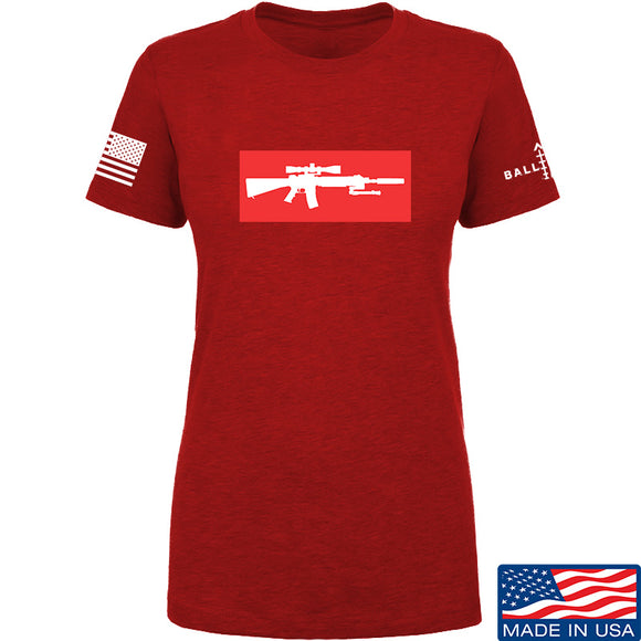 Mrgunsngear Ladies Supreme Mk12 T-Shirt T-Shirts SMALL / Red by Ballistic Ink - Made in America USA