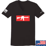 Mrgunsngear Ladies Supreme Mk18 V-Neck T-Shirts, V-Neck SMALL / Black by Ballistic Ink - Made in America USA