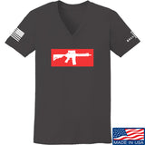Mrgunsngear Ladies Supreme Mk18 V-Neck T-Shirts, V-Neck SMALL / Charcoal by Ballistic Ink - Made in America USA