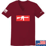 Mrgunsngear Ladies Supreme Mk18 V-Neck T-Shirts, V-Neck SMALL / Cranberry by Ballistic Ink - Made in America USA