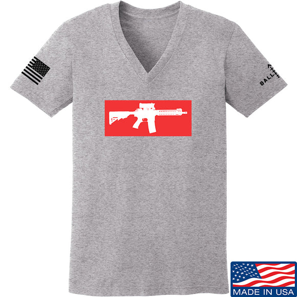 Mrgunsngear Ladies Supreme Mk18 V-Neck T-Shirts, V-Neck SMALL / Light Grey by Ballistic Ink - Made in America USA