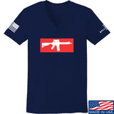 Mrgunsngear Ladies Supreme Mk18 V-Neck T-Shirts, V-Neck SMALL / Navy by Ballistic Ink - Made in America USA