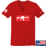 Mrgunsngear Ladies Supreme Mk18 V-Neck T-Shirts, V-Neck SMALL / Red by Ballistic Ink - Made in America USA