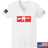 Mrgunsngear Ladies Supreme Mk18 V-Neck T-Shirts, V-Neck SMALL / White by Ballistic Ink - Made in America USA