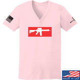 Mrgunsngear Ladies Supreme Mk18 V-Neck T-Shirts, V-Neck SMALL / Light Pink by Ballistic Ink - Made in America USA