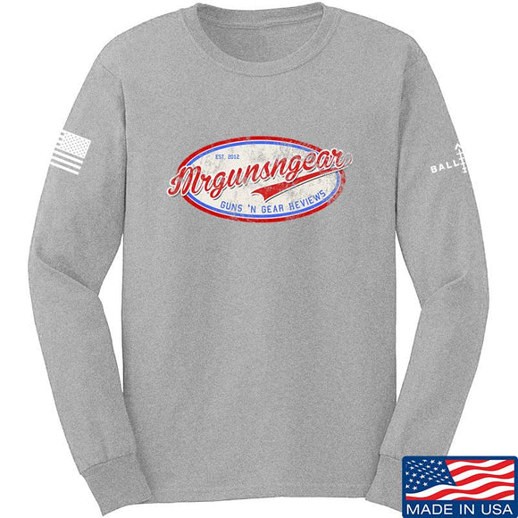 Mrgunsngear Mrgunsngear Logo Long Sleeve T-Shirt Long Sleeve Small / Light Grey by Ballistic Ink - Made in America USA