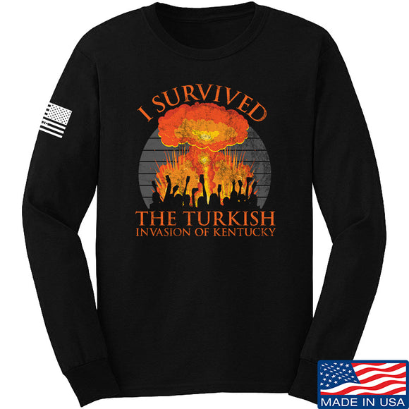 RapidFire Rachel I survived the Turkish invasion of Kentucky Long Sleeve T-Shirt Long Sleeve Small / Black by Ballistic Ink - Made in America USA