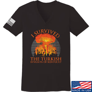 RapidFire Rachel Ladies I survived the Turkish invasion of Kentucky V-Neck T-Shirts, V-Neck SMALL / Cranberry by Ballistic Ink - Made in America USA