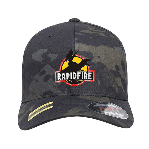 RapidFire Rachel RapidFire Rachel Logo Flexfit® Multicam® Trucker Mesh Cap Headwear Black Multicam by Ballistic Ink - Made in America USA