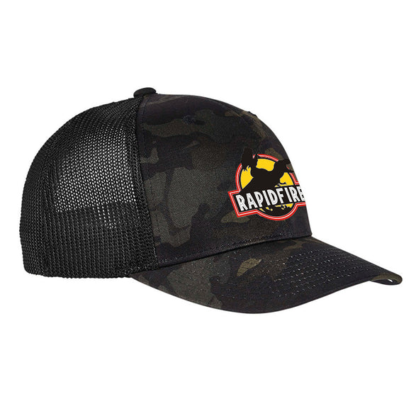 RapidFire Rachel RapidFire Rachel Logo Flexfit® Multicam® Trucker Mesh Cap Headwear [variant_title] by Ballistic Ink - Made in America USA
