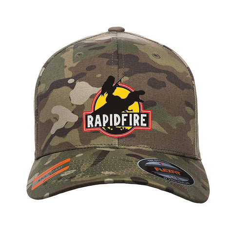 RapidFire Rachel RapidFire Rachel Logo Flexfit® Multicam® Trucker Cap Headwear Multicam S/M by Ballistic Ink - Made in America USA