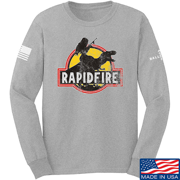 RapidFire Rachel RapidFire Rachel Logo Long Sleeve T-Shirt Long Sleeve Small / Light Grey by Ballistic Ink - Made in America USA