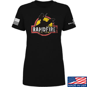 RapidFire Rachel Ladies RapidFire Rachel Logo T-Shirt T-Shirts SMALL / Cream by Ballistic Ink - Made in America USA