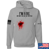 Skinny Medic I'm Fine My Wife has an Oil for This Hoodie Hoodies Small / Light Grey by Ballistic Ink - Made in America USA