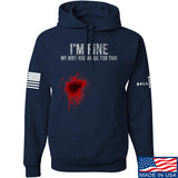 Skinny Medic I'm Fine My Wife has an Oil for This Hoodie Hoodies Small / Navy by Ballistic Ink - Made in America USA