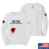 Skinny Medic I'm Fine My Wife has an Oil for This Long Sleeve T-Shirt Long Sleeve Small / White by Ballistic Ink - Made in America USA