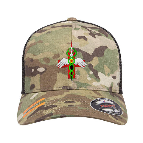 Skinny Medic Skinny Medic Logo Flexfit® Multicam® Trucker Mesh Cap Headwear Multicam by Ballistic Ink - Made in America USA