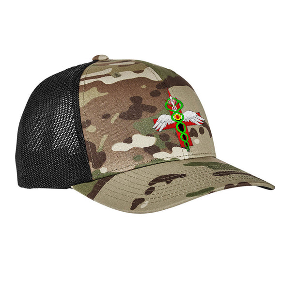 Skinny Medic Skinny Medic Logo Flexfit® Multicam® Trucker Mesh Cap Headwear [variant_title] by Ballistic Ink - Made in America USA
