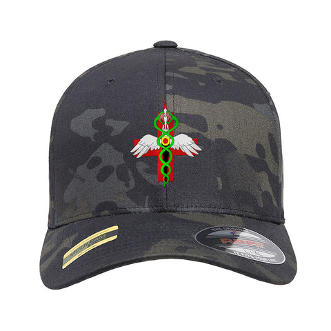 Skinny Medic Skinny Medic Logo Flexfit® Multicam® Trucker Cap Headwear Black Multicam S/M by Ballistic Ink - Made in America USA