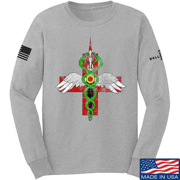 Skinny Medic Skinny Medic Logo Long Sleeve T-Shirt Long Sleeve Small / Light Grey by Ballistic Ink - Made in America USA
