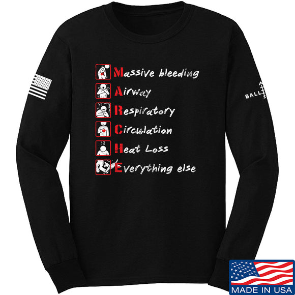 Skinny Medic Trauma 101 - MARCHE Long Sleeve T-Shirt Long Sleeve Small / Black by Ballistic Ink - Made in America USA